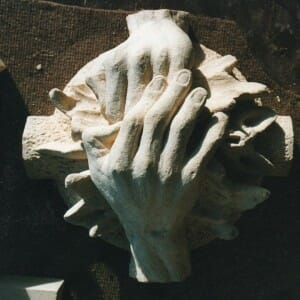 Hands Clasping Bat Boss, Bath Stone, 2003