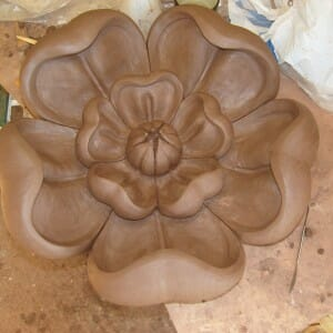 Tudor Rose, (symbol of England) modelled in clay