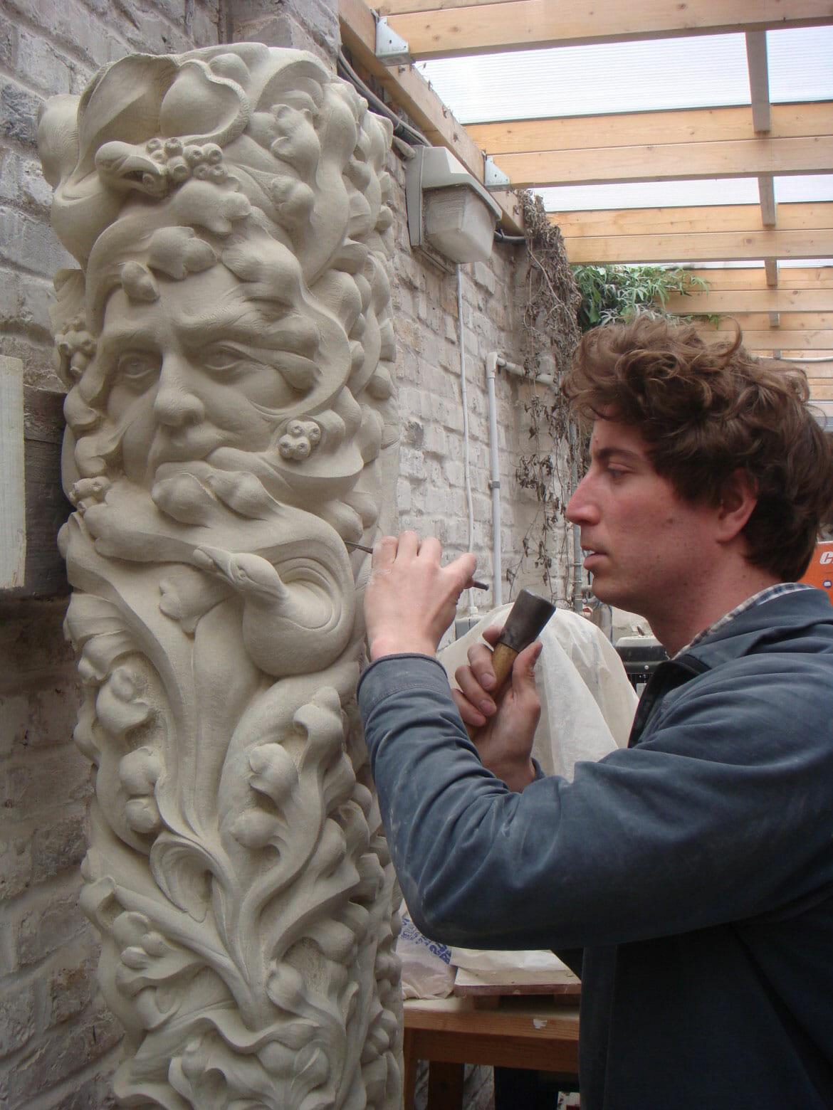 Greenman detail(Original Sandstone Garden Sculpture) Designed and Carved by Tom Nicholls, 2013